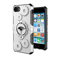 New Arrive iPhone 5 5S SE Case, Finger Grip Stander HESGI Shockproof Durable Two Layer Protection Hybrid Cover with Armband4inch silver