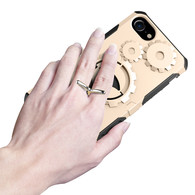 New Arrive iPhone 5 5S SE Case, Finger Grip Stander HESGI Shockproof Durable Two Layer Protection Hybrid Cover with Armband4inch gold