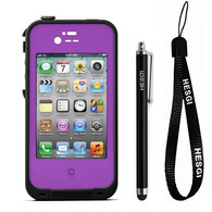 HESGI New Waterproof Shockproof Dirtproof Snowproof Protection Case Cover for Apple Iphone 4 4S Purple