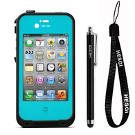 HESGI New Waterproof Shockproof Dirtproof Snowproof Protection Case Cover for Apple Iphone 4 4S Teal