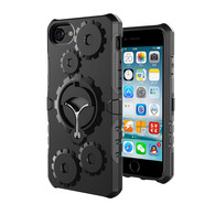 New Arrive iPhone 5 5S SE Case, Finger Grip Stander HESGI Shockproof Durable Two Layer Protection Hybrid Cover with Armband4inch black