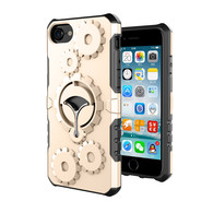 New Arrive iPhone 6/6S Plus Case, Finger Grip Stander HESGI Shockproof Durable Two Layer Protection Hybrid Cover with Armband for 5.5 inch gold