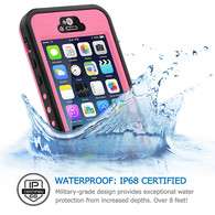 HESGI iPhone 5s Case, 6.6 ft Underwater Waterproof Shockproof Snowproof Dirtpoof Protection Case Cover with Touch ID for iPhone 5S/SE [Pink]