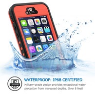 HESGI iPhone 5s Case, 6.6 ft Underwater Waterproof Shockproof Snowproof Dirtpoof Protection Case Cover with Touch ID for iPhone 5S/SE [Orange]