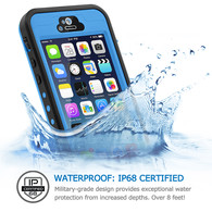 HESGI iPhone 5s Case, 6.6 ft Underwater Waterproof Shockproof Snowproof Dirtpoof Protection Case Cover with Touch ID for iPhone 5S/SE [Light Blue]